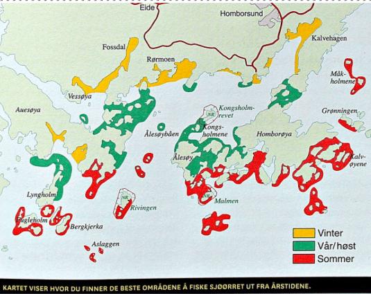 Et kart som viser hvor du kan fiske sjøørret.
