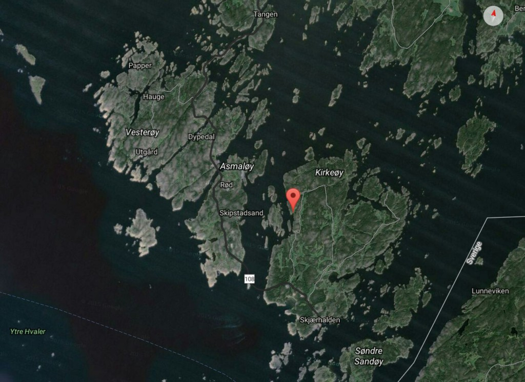 Kart over Kirkøy Hvaler fiskeplasser