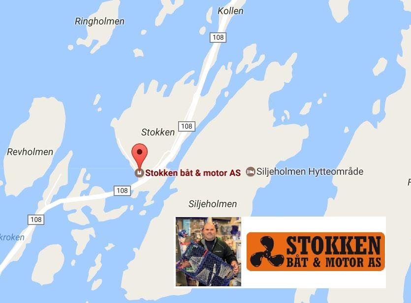 Her ligger Stokken Båt og Motor. De har et meget godt utvalg av utstyr til sjøørret.