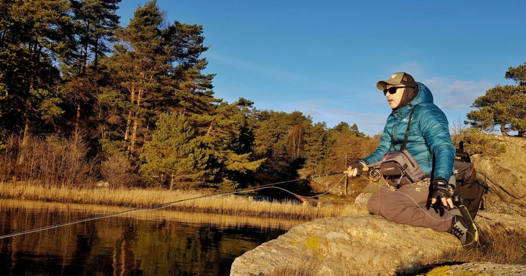 Her er jeg ute for å teste fiske med tangloppe. Loppefiske på sitt beste.