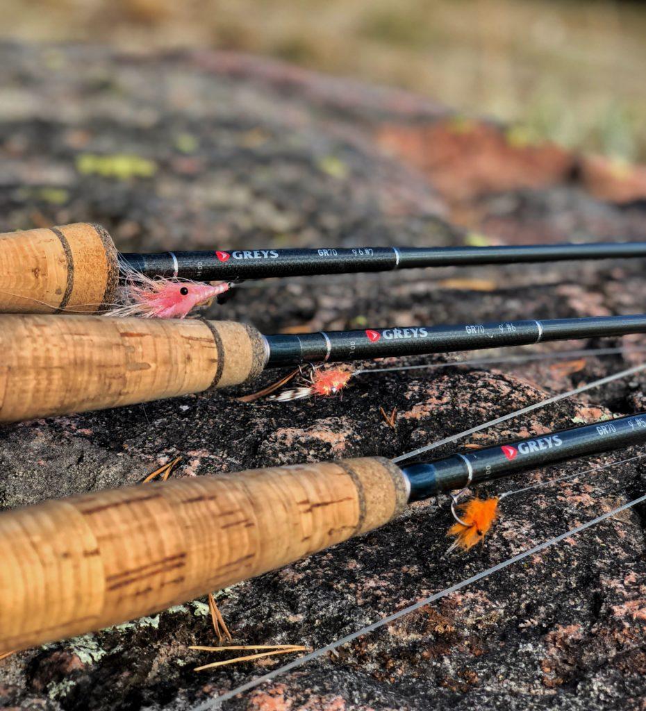Her er mitt utstyr jeg bruker når jeg skal fiske sjøørret med flue.