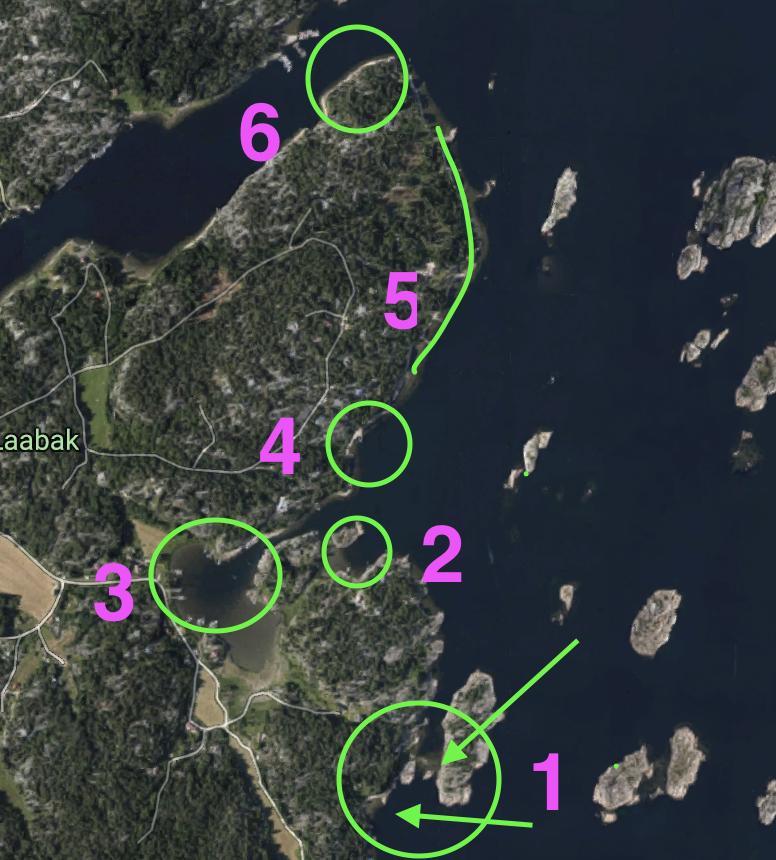 Fiske sjøørret på Hvaler. Her er et detaljert kart som viser de beste fiskeplassene sør på Kirkøy.
