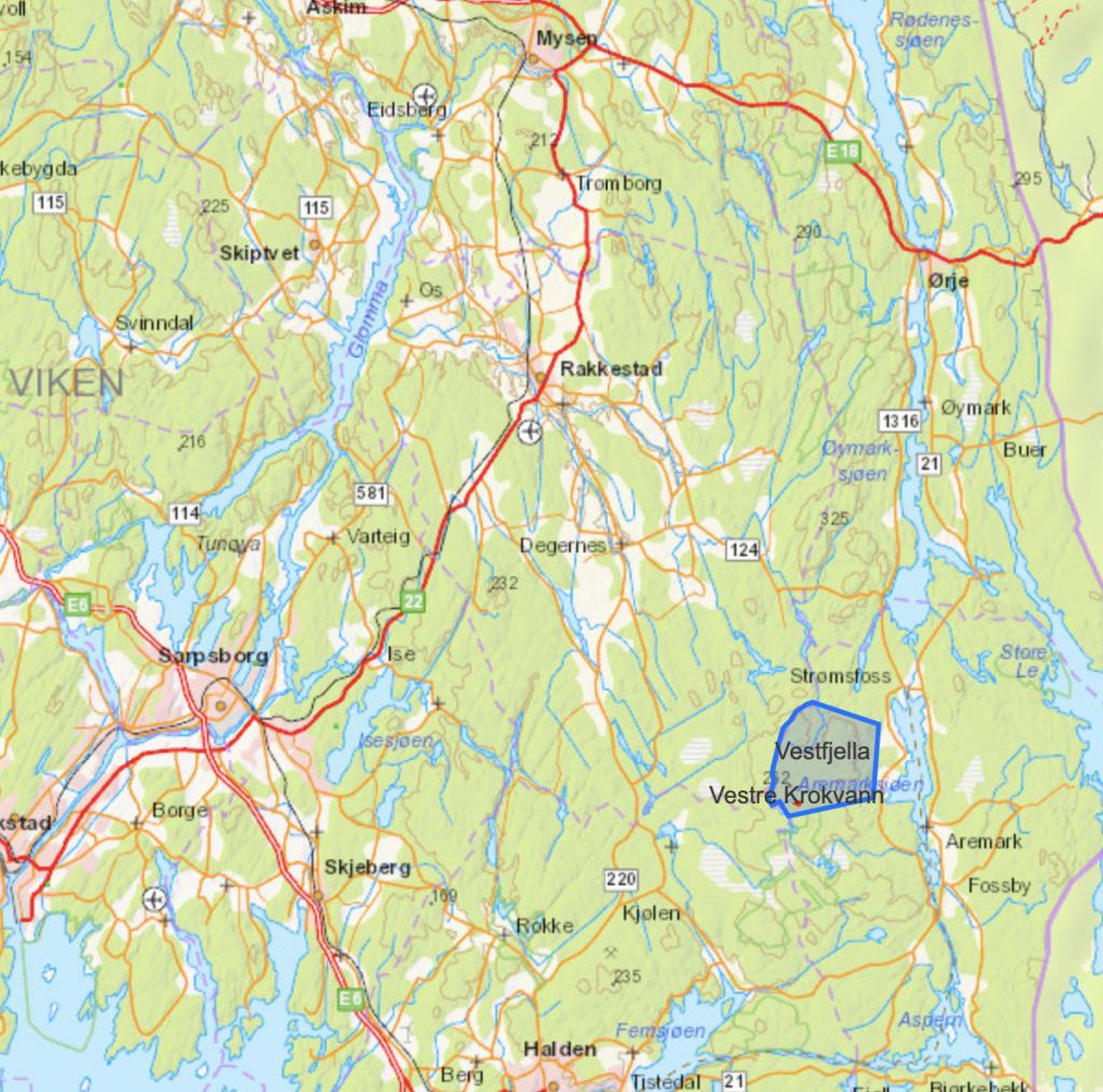 Kart over vestfjella i Halden og Aremark kommune.
